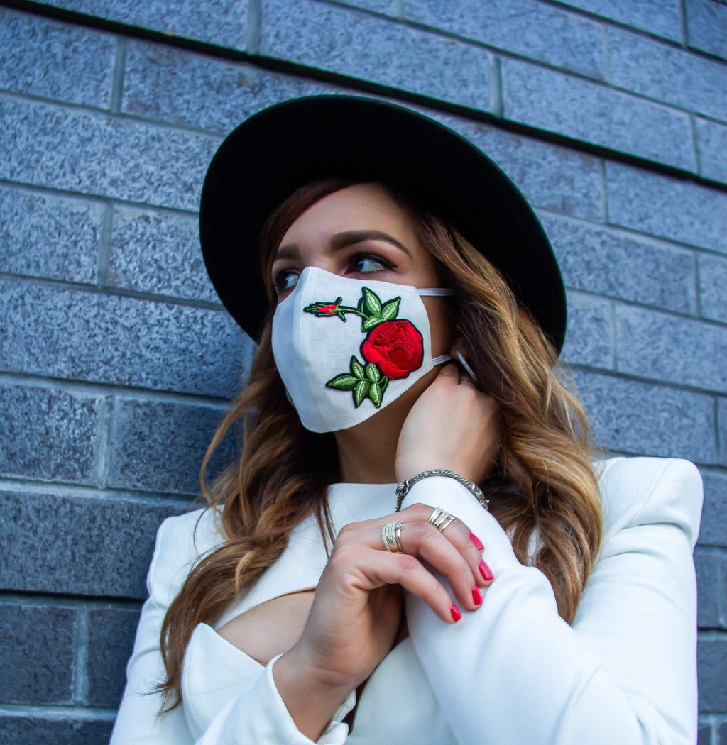 High-Quality Handmade  Washable Adjustable White w/ Red Roses and Black Face Masks | 100% Organic Linen | Unisex