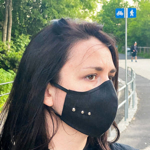 High-Quality Handmade Washable & Adjustable Black Face Masks with Pocket Filter and silver studs on the sides | 100% Organic Linen | Unisex
