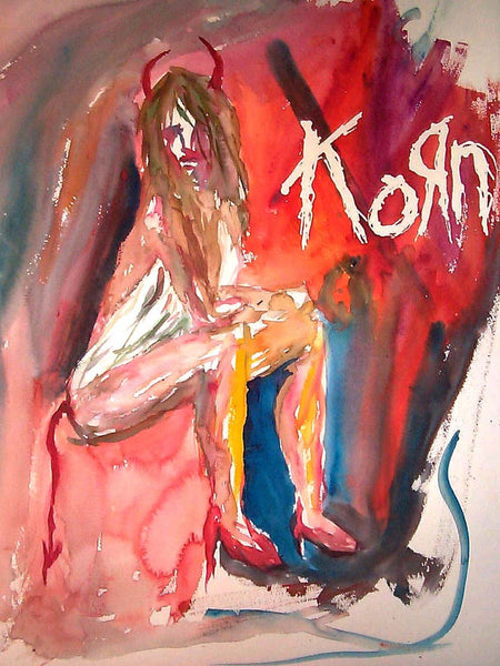 Letter sized signed glossy print - KORN