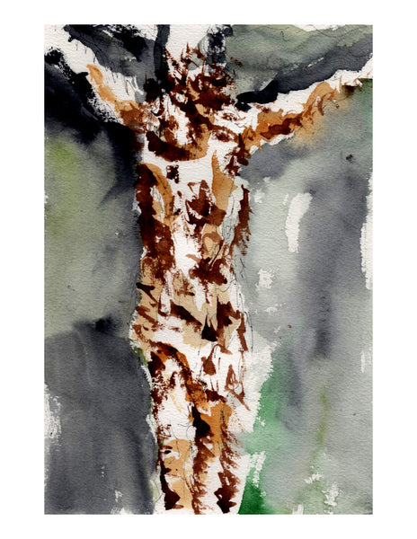 Original signed watercolor painting -  Gory Crucifixion
