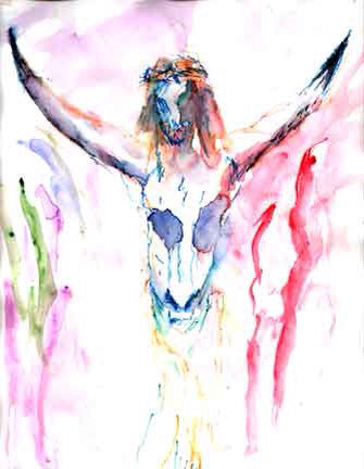 Letter sized signed glossy print - Bullhead Crucifixion