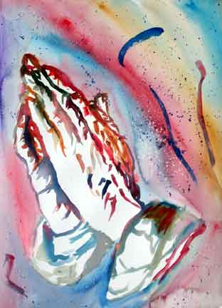 Letter sized signed glossy print - Praying Hands