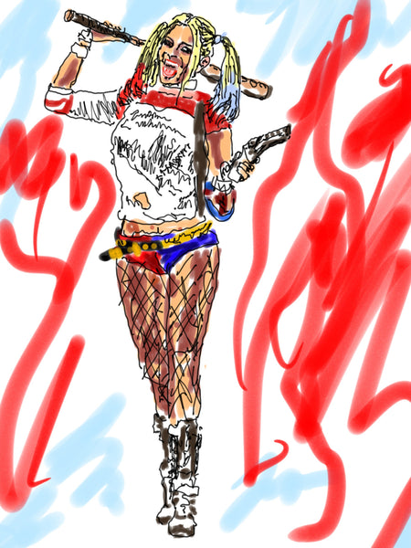 Signed iPad drawing and print - Harley Quinn - Dan Joyce art