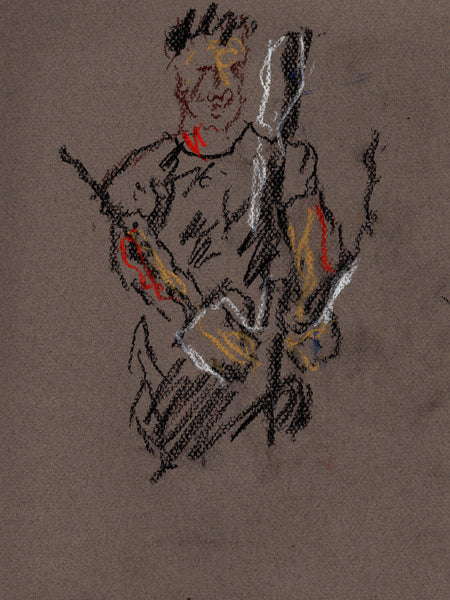 Original signed pastel drawing on toned paper - Tom at the Gym - Dan Joyce art