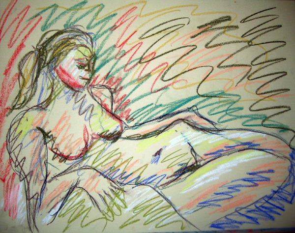 Signed original life drawing pastel sketch on toned paper - Nude #13 - Dan Joyce art