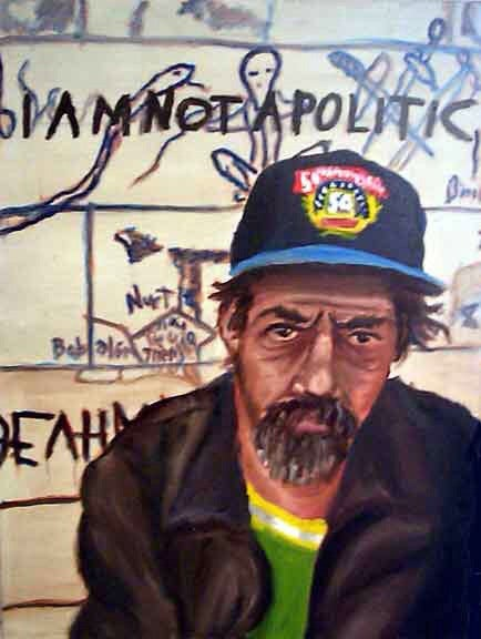 Original 30x40 oil painting on canvas by Dan Joyce - The Homeless Series - I Am Not A Politic - Dan Joyce art