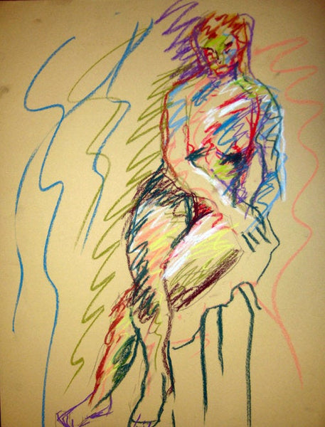 Signed original life drawing pastel sketch on toned paper - Nude #1 - Dan Joyce art