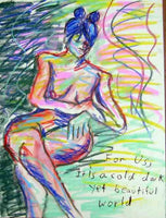 Nude life drawing pastel sketch signed original #7 - Dan Joyce art