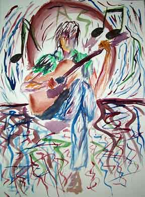 Letter sized signed glossy print - Josiah and Guitar