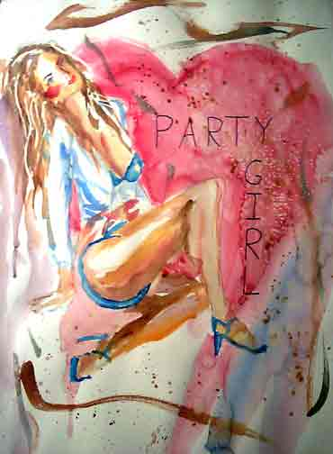 Letter sized signed glossy print -  Party Girl