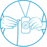 Compact blue line image of a person's torso with a hand plugging a cord into a wearable GLO Brilliant device.