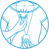 Compact blue line image of a person's torso with a wearable GLO Brilliant device and the mouthpiece in one hand.