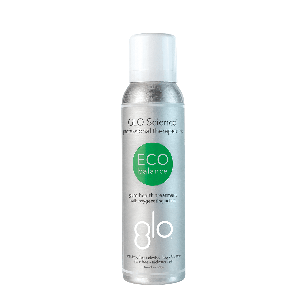 Single bottle of GLO Science Eco Balance on a black background.