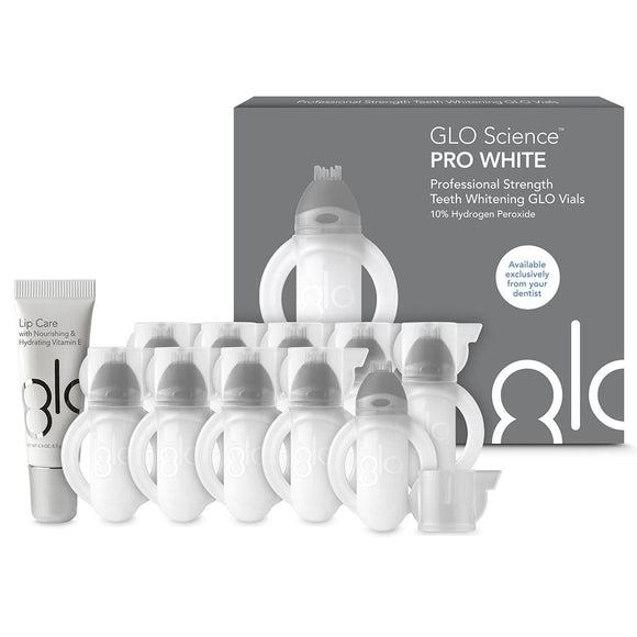 GLO Science Professional Strength Teeth Whitening GLO Vials (10 Pack + Bonus Lip Care)