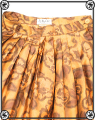 50'S 60'S GOLDEN HONEY FLORAL SKIRT