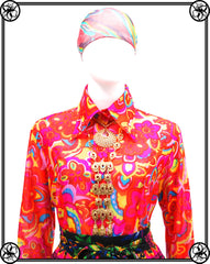 60'S 70'S BRIGHT FLORAL BLOUSE