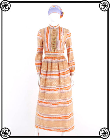 EARLY 70'S BOHO METALLIC MAXI DRESS