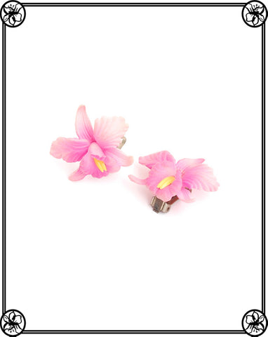 VINTAGE CELLULOID ORCHID EARRING