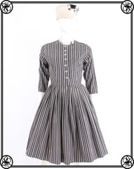 50'S 60'S GREY STRIPE DRESS