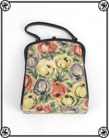 1950'S PRINTED CLOTH HANDBAG