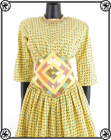 1980'S FAB PRINTED COTTON DRESS
