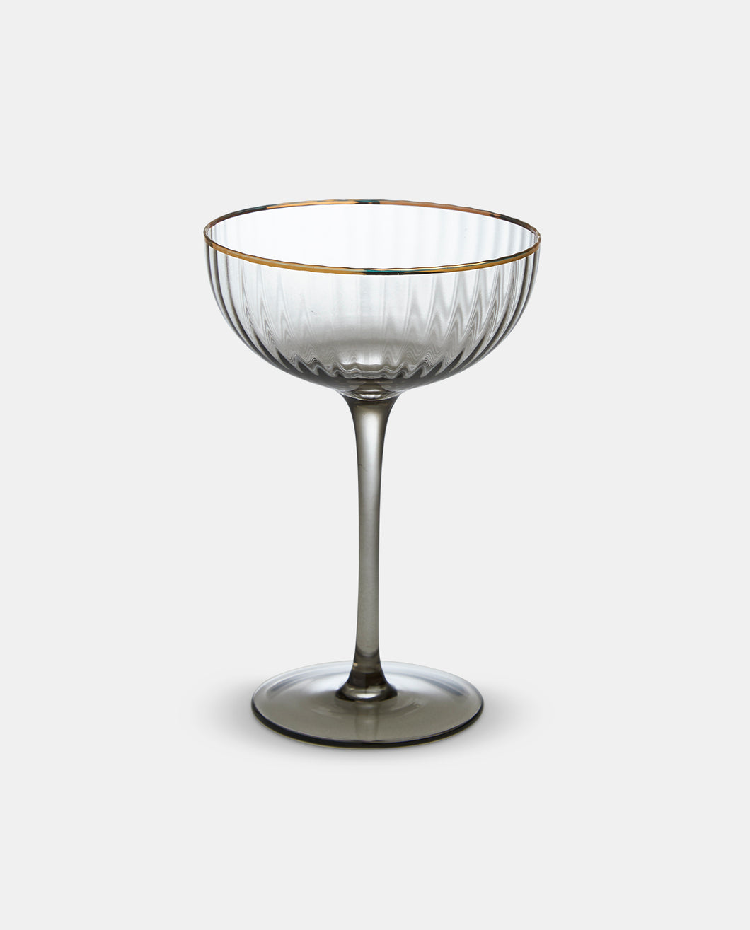 Italia Grey Glass Gold Rim Coupe Champagne Glass - Set of 4