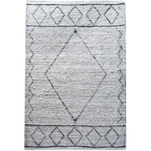 Load image into Gallery viewer, Abar Hand Woven Pit Loom Ivory & Charcoal Pattern 160x230cm Cotton Rug