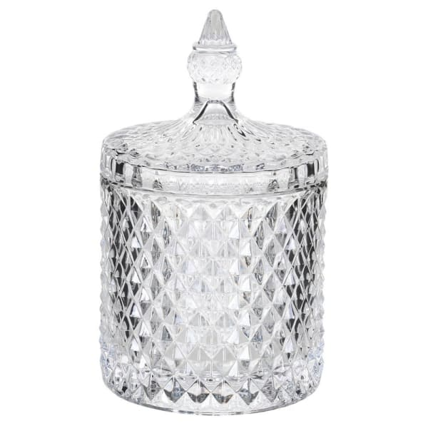 Medium Cut Glass Jar with Lid