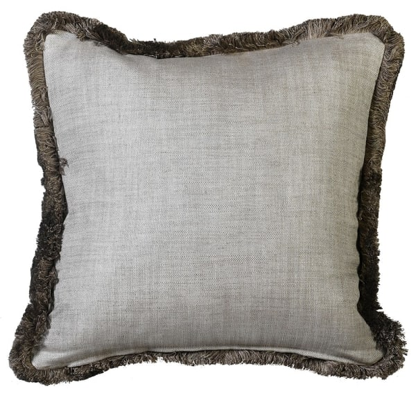 Beige Ruche Trimmed Cushion Cover