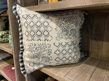 Load image into Gallery viewer, French Style Blue & Cream Patterned Cushion