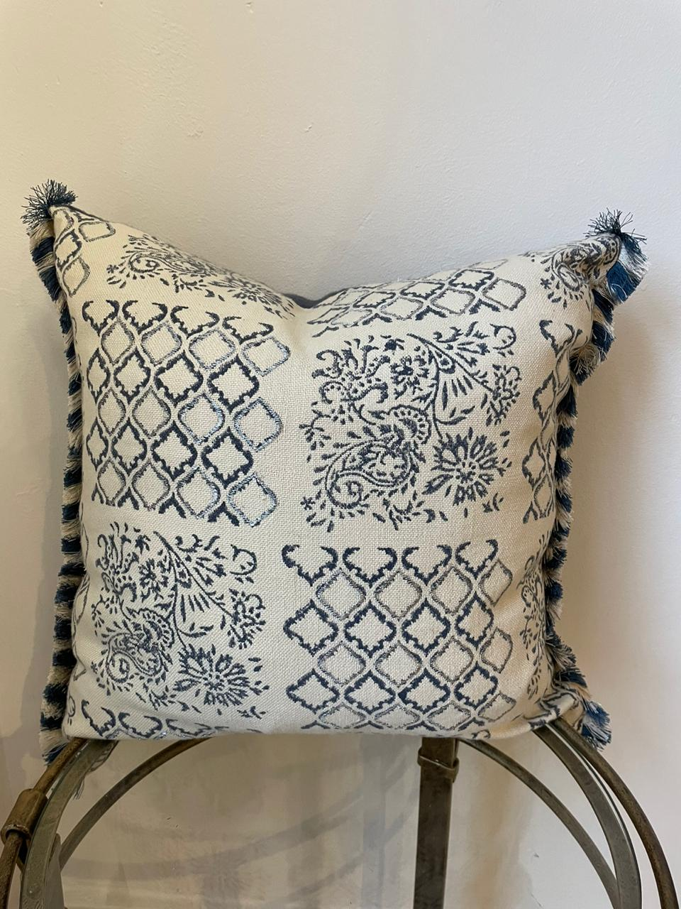 French Style Blue & Cream Patterned Cushion