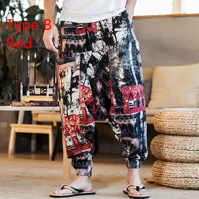 Baggy Cotton Linen Harem Pants Men Hip-hop Women Plus Size Wide Leg Trousers Casual Vintage Long Pants Pantalones Hombre 2020