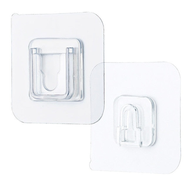 1 Pair Double Sided Wall Adhesive Hook Paste Plug Socket Holder Cable Storage Plug Fixing Organize Seamles Waterproof Reusable