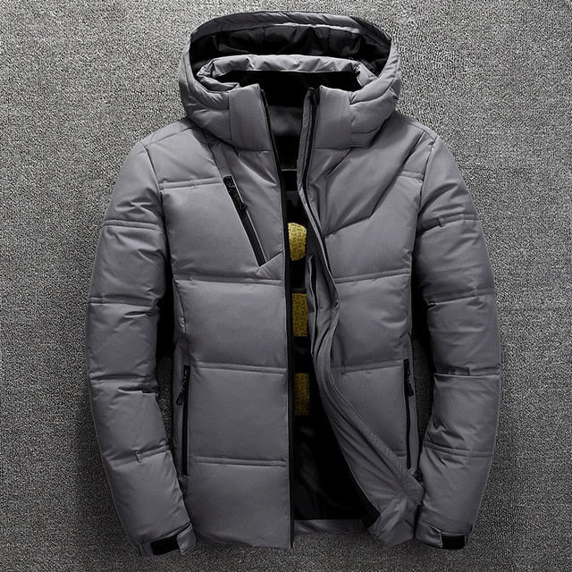 FGKKS Quality Brand Men Down Jacket Slim Thick Warm Solid Color Hooded Coats Fashion Casual Down Jackets Male