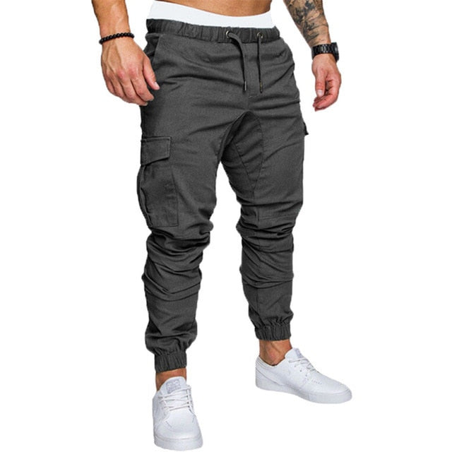 Men Safari Cargo thin Pants  Joggers Sweatpants Casual Male Sportswear Solid Multi-pocket Cargo Trousers Hip Hop Harem Slim Fit