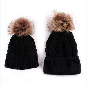 2pcs Baby Knit Pom Hat (black)