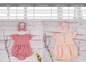 Cotton Newborn Onesie and Bonnet Set (size chart)