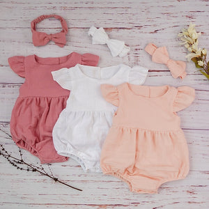 Cotton Newborn Onesie and Bonnet Set (peach, pink and white)