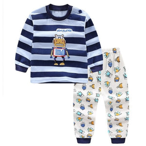 Cartoon Print Pajama Sets (navy blue and white with robot)