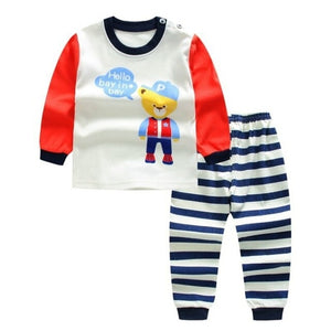 Cartoon Print Pajama Sets (navy blue, white and red)