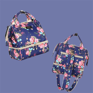 Fashion Mama Maternity Diaper Bag (blue with pink flowers)
