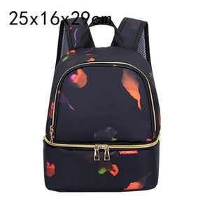 Fashion Mama Maternity Diaper Bag (navy blue with colorful flower petals)
