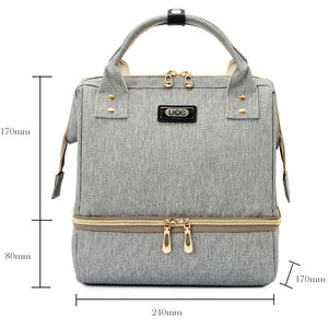 Fashion Mama Maternity Diaper Bag (grey with dimensions)