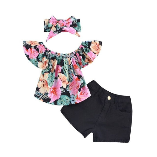 Cute Summer Baby Clothing (shorts, headband and shirt)