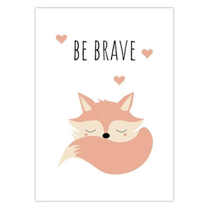 Be Brave Fox Dream Wall Canvas