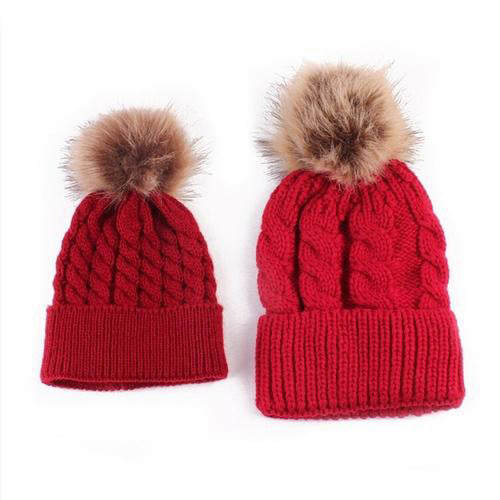 2pcs Baby Knit Pom Hat (red)