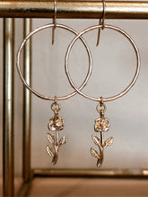 Load image into Gallery viewer, Dainty Rose Hoops