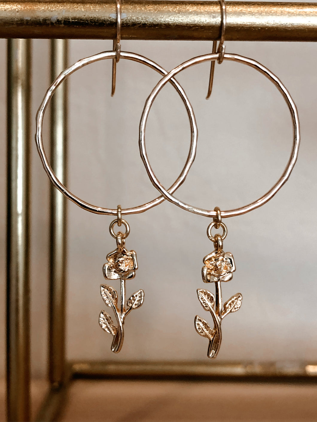 Dainty Rose Hoops