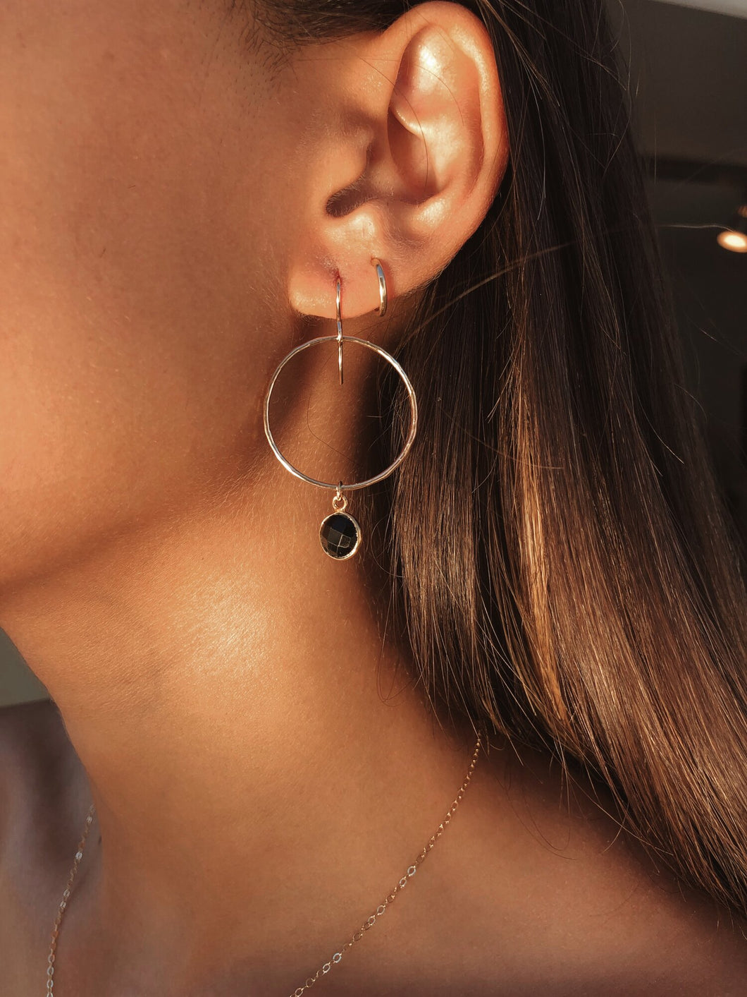 Black Onyx Mini Hoops