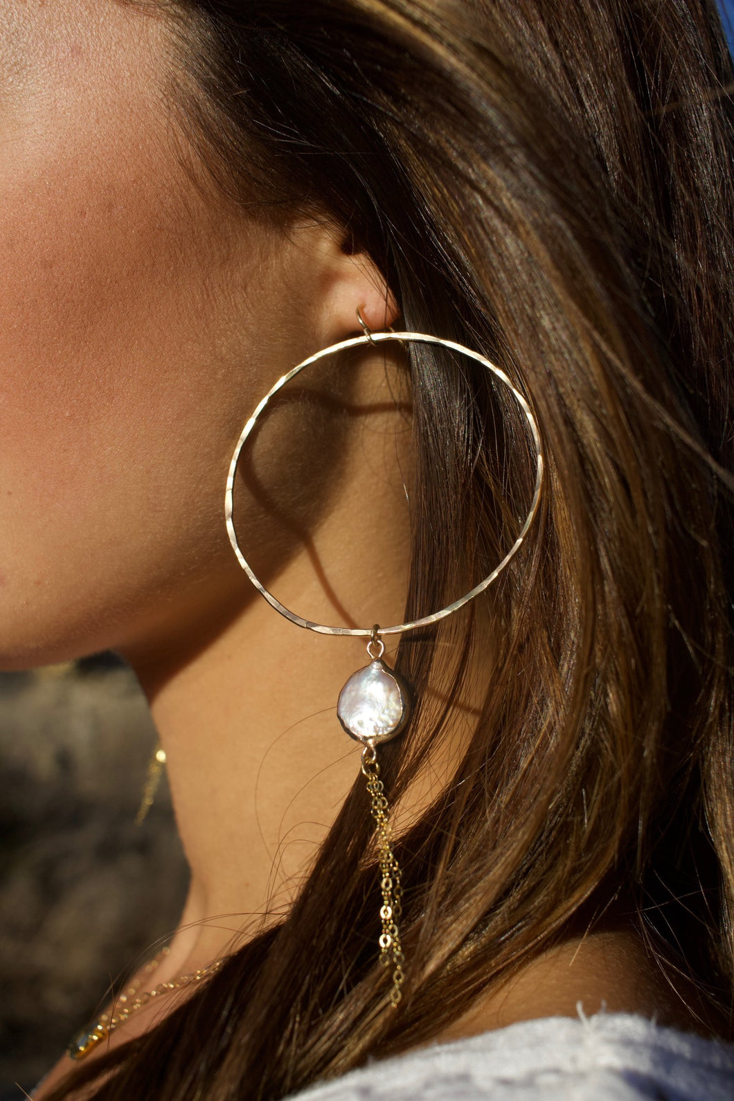 Dainty Baroque Pearl Hoops with Gold Tassels